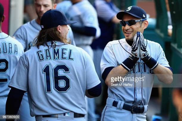 Ichiro Suzuki talks with Ben Gamel of the Seattle Mariners prior to a game against the Los Angeles Angels of Anaheim at Angel Stadium on July 12 2018...