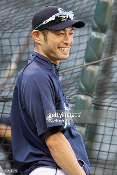 Ichiro Suzuki the Seattle Mariners laughs during practice before the game against the New York Yankees on September 18 2009 at Safeco Field in...