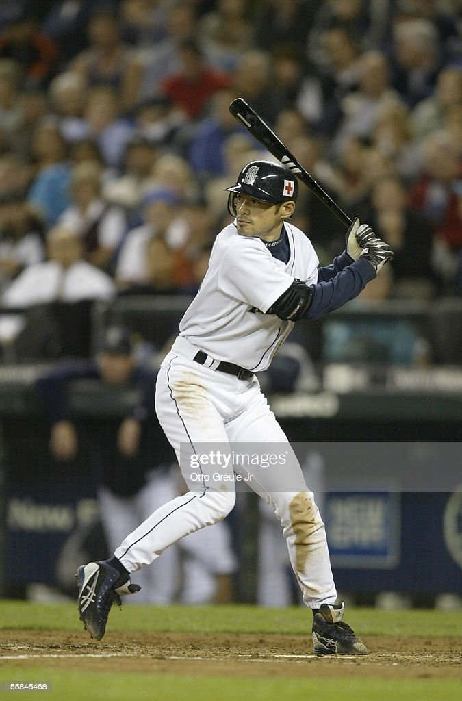 Ichiro Suzuki#51 of the Seattle Mariners steps into the swing during the game against the Texas Rangers on September 28 2005 at Safeco Field in Seattle Washington. The Rangers won 7-3.