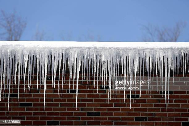 Icicles after the winter storm Janus Connecticut United States January 22 2014 Janus left 4 deaths and dropped over 30cm snow in northeastern United...