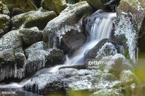 Icicles and snow on rocks at Glencree river, as cold snap is affecting Ireland after several centimetres of snow fell over night. On Tuesday,...