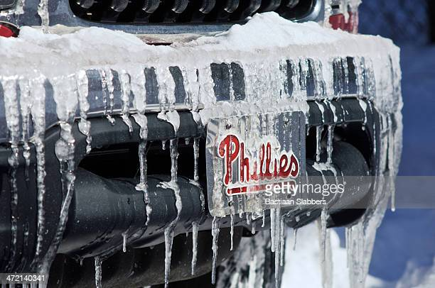 Icicles hang from vanity license plate