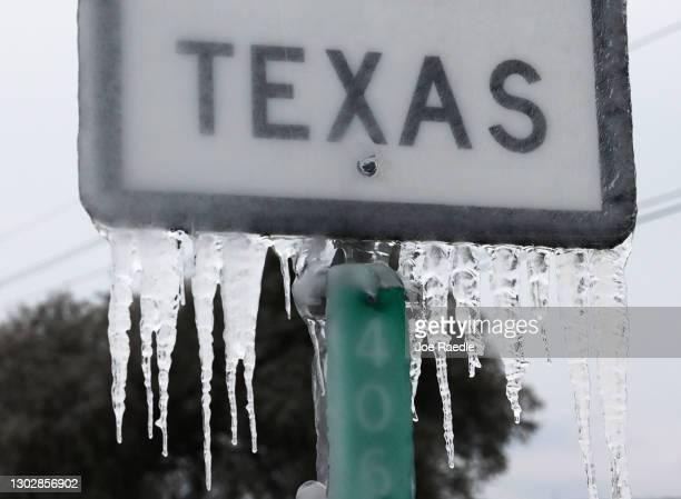 Icicles hang off the State Highway 195 sign on February 18, 2021 in Killeen, Texas. Winter storm Uri has brought historic cold weather and power...