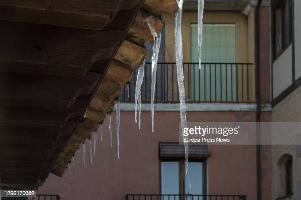 Icicles hanging from the roof of a building during a cold snap, on 13 January 2021, in Toledo, Spain. The cold snap after the heavy snowfall caused...