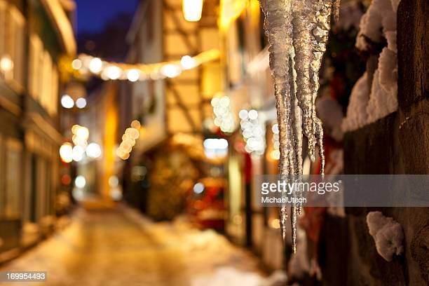 Icicles In A Christmassy Street At Night