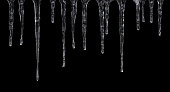 Icicles isolated on black background