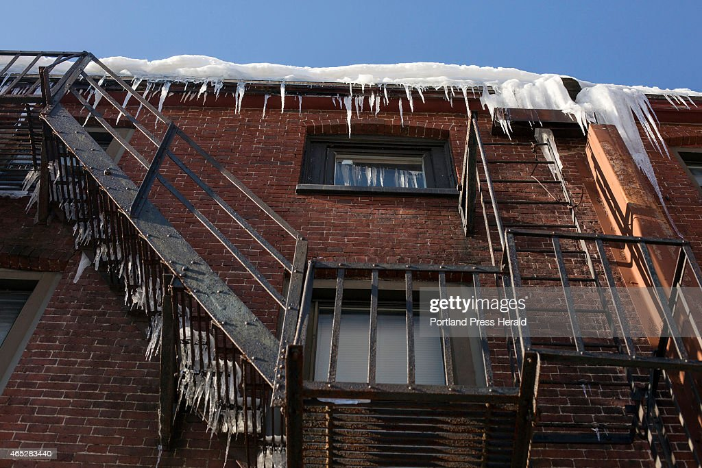 Icicles off of Mathew's bar on Free Street in Portland, ME on Monday