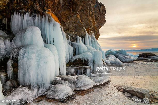 Icicles on a rock at sunset, Lake Baikal