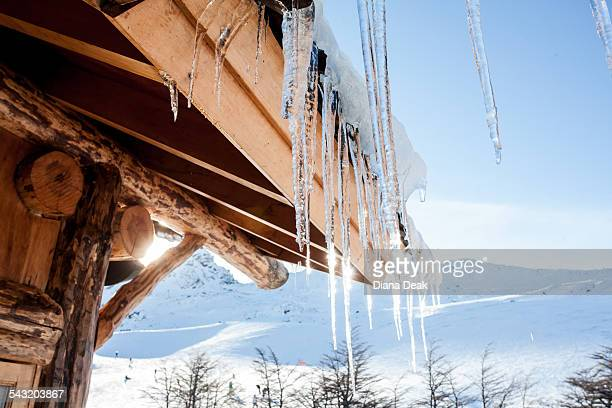 Icicles on cabin roof, Ushuaia, Tierra del Fuego, Argentina