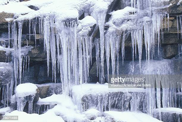 """""""icicles on rocks, sierra mountains, california"""" - icicle stock pictures, royalty-free photos & images"""