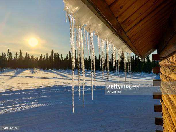 Icicles on roof and sunset