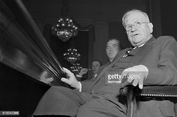 Ickes Testifies at Oil Hearing. Washington: Harold L. Ickes, former Secretary of Interior, shown as he appeared before the Senate War Investigating...