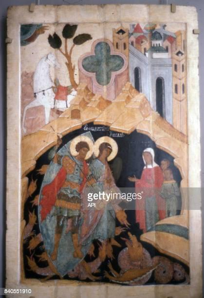 Icône représentant saint Théodore et saint Michel terrassant les dragons