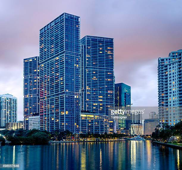 Icon Brickell from Miami City Channels at Night