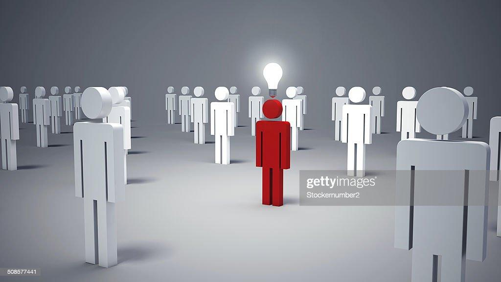 Icona uomo persone e una lampadina.  Concetto di idea : Foto stock