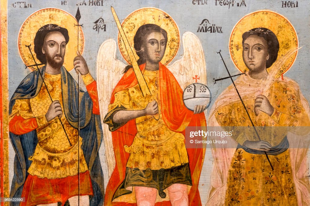 Icon of Apostles in crypt of Alexander Nevsky Cathedral : Stock Photo
