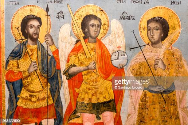 icon of apostles in crypt of alexander nevsky cathedral - byzantine stock photos and pictures