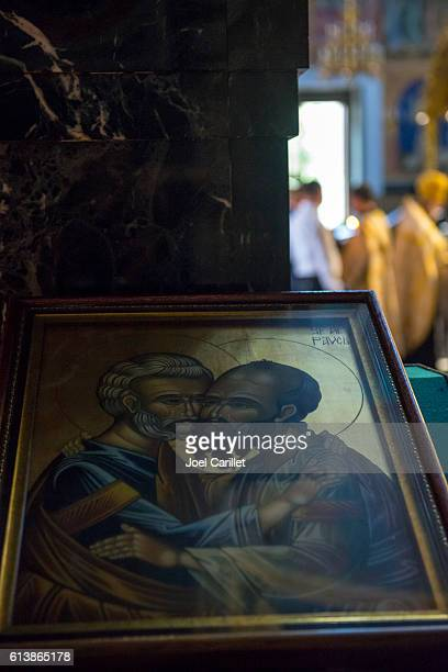 Icon of Peter and Paul embracing in Chisinau, Moldova