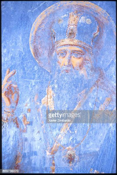 Icon of Saint Andrew in the Russian Skete of Saint Andrew belonging to the Monastery of Vatopedi at Easter on April 27 1997 in the Mount Athos...