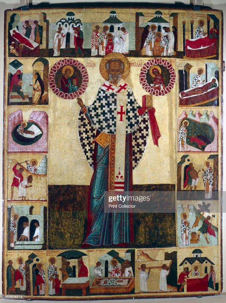 Icon of St Nicholas, Russian. : News Photo
