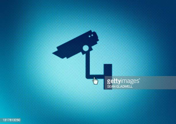 cctv icon on computer screen - business security camera stock pictures, royalty-free photos & images
