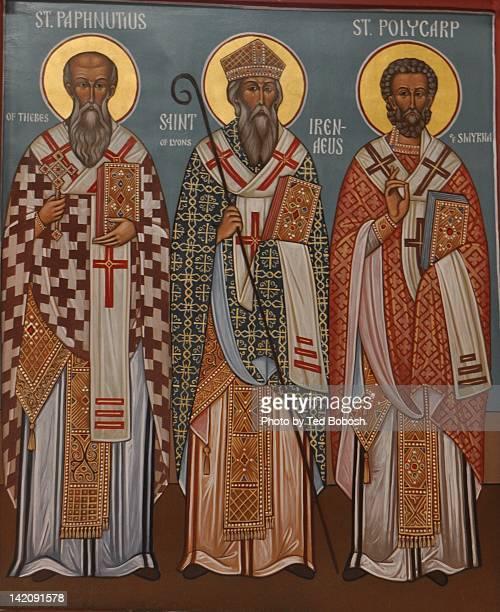 Icon: St. Paphnutius, St. Irenaeus, St. Polycarp