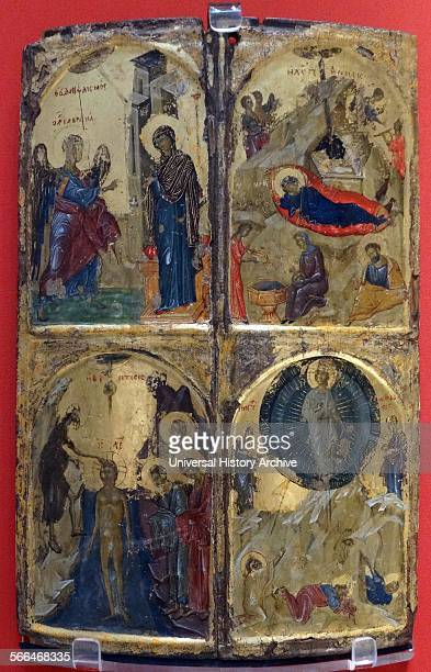 Icon with four church feasts probably painted in Thessalonica 1310—1320 Egg tempera gilding wood gesso Greece the most important artistic centre in...
