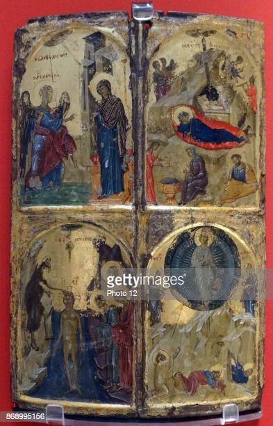 Icon with four church feasts probably painted in Thessalonica 13101320 Egg tempera gilding wood gesso Greece the most important artistic centre in...