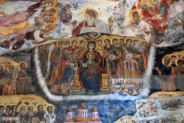 icona from sumela monastery - byzantine stock pictures, royalty-free photos & images