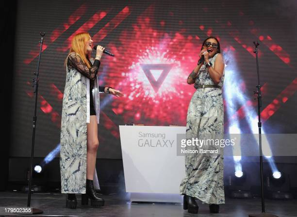 Icona Pop performs onstage during Samsung Unpacked 2013 Episode 2 In Times Square on September 4, 2013 in New York City.