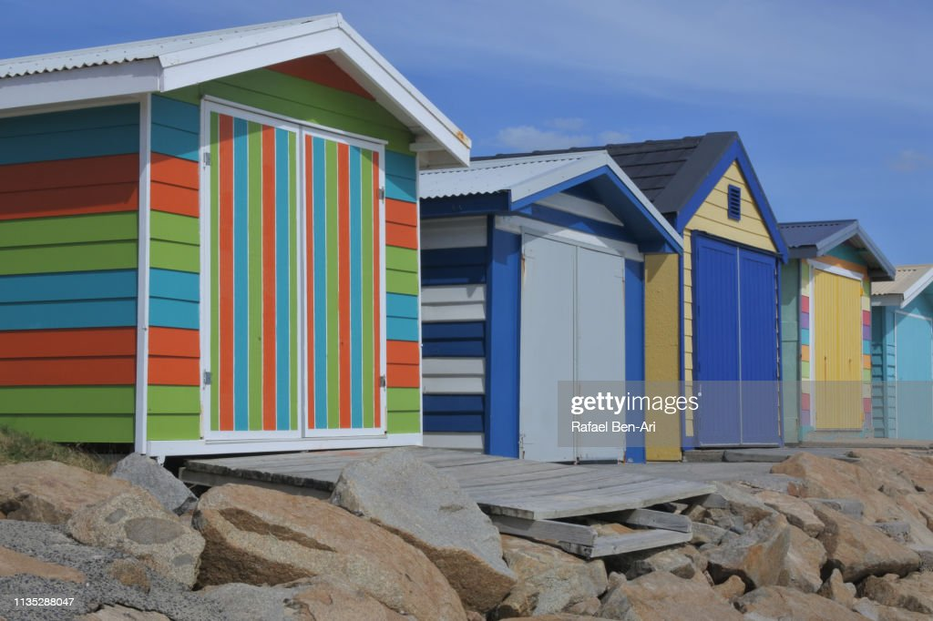 Iconic Bathing Boxes of the Mornington Peninsula Victoria Australia : Stock Photo