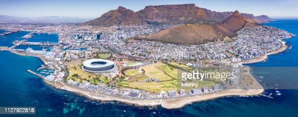 iconic cape town panorama aerial view south africa - table mountain stock pictures, royalty-free photos & images