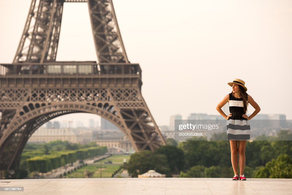 Iconic Eiffel Tower and a French Dress : Stock Photo