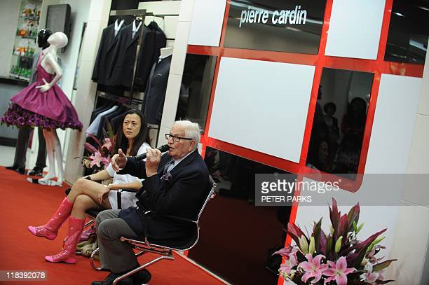 Iconic French fashion designer Pierre Cardin attends a press conference with Pierre Cardin's chief representative in China Fang Fang in Tianjin in...