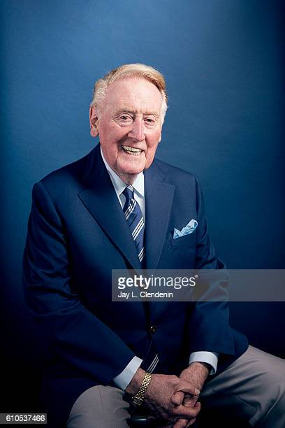 Iconic Los Angeles Dodgers announcer Vin Scully is photographed for Los Angeles Times on September 20, 2016 in Los Angeles, California. PUBLISHED...