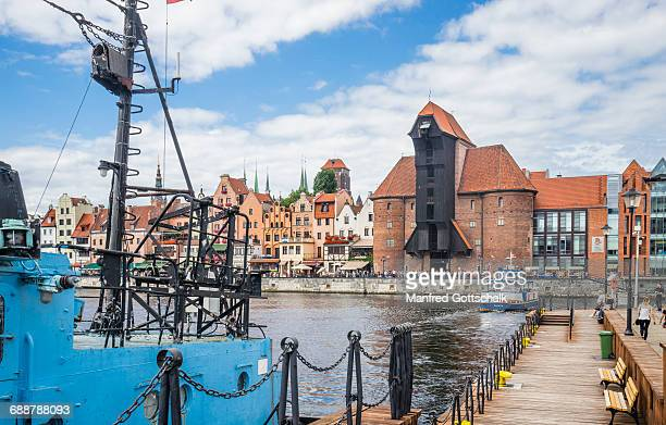 iconic medieval port crane gdansk - motlawa river stock pictures, royalty-free photos & images
