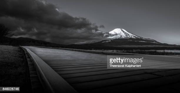 Iconic Mount Fuji of Japan in black and white