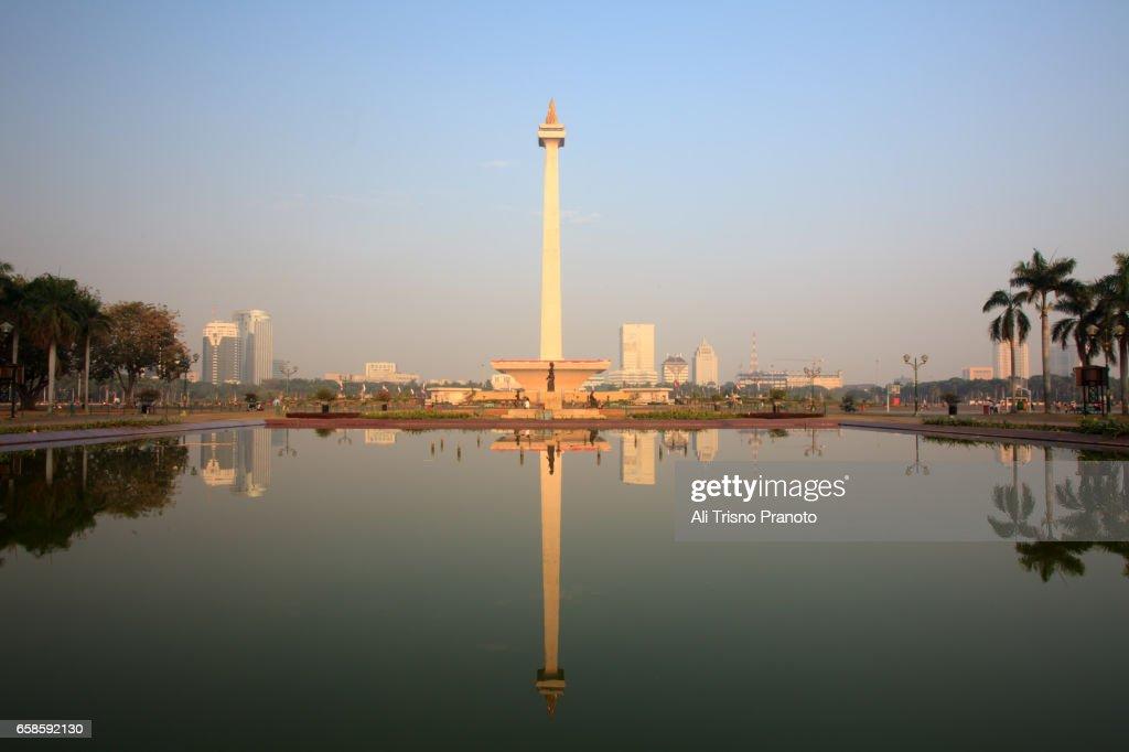 Iconic National Monument Monas. Jakarta city, Indonesia. : Stock Photo