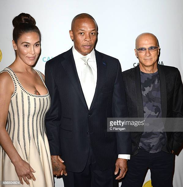 Iconic producer and rapper Dr Dre wife Nicole Young and Entrepreneur Jimmy Iovine attend the 8th Annual California Hall Of Fame Induction Ceremony at...