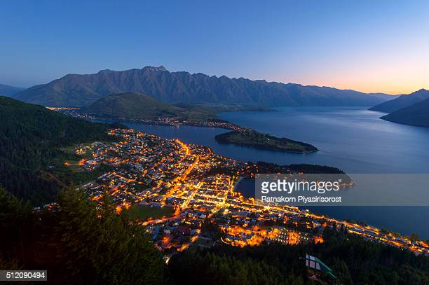 Iconic Queenstown cityscape at dusk, New Zealand