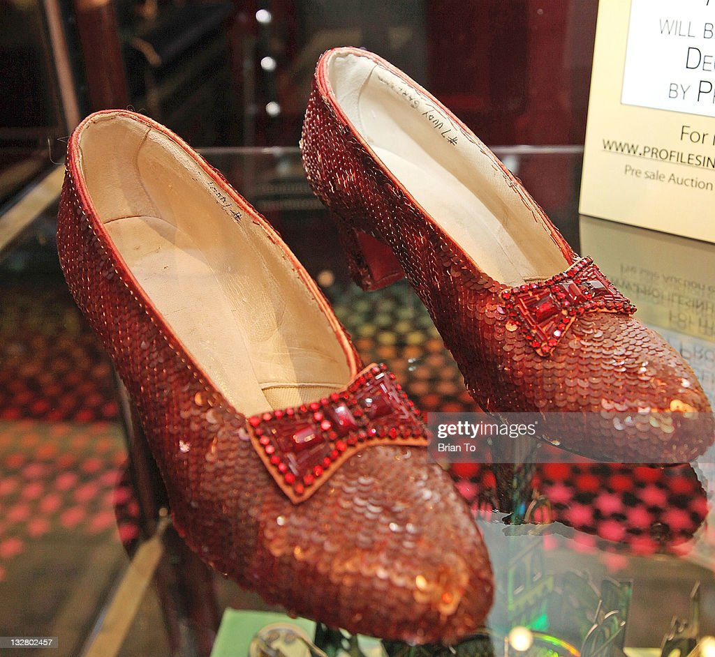 Iconic ruby slippers from 'The Wizard Oz' unveiled at Solange Azagury-Partridge on November 14, 2011 in Beverly Hills, California.
