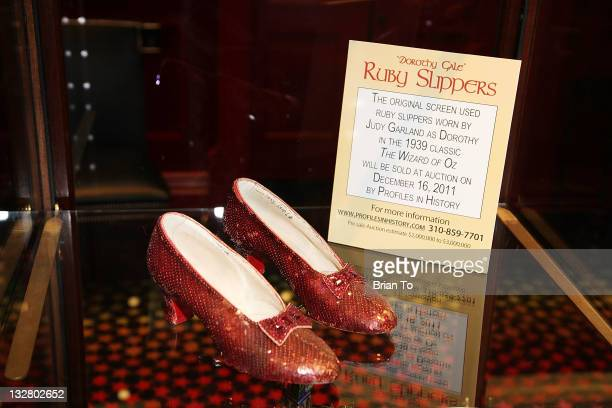 Iconic ruby slippers from The Wizard Oz unveiled at Solange AzaguryPartridge on November 14 2011 in Beverly Hills California