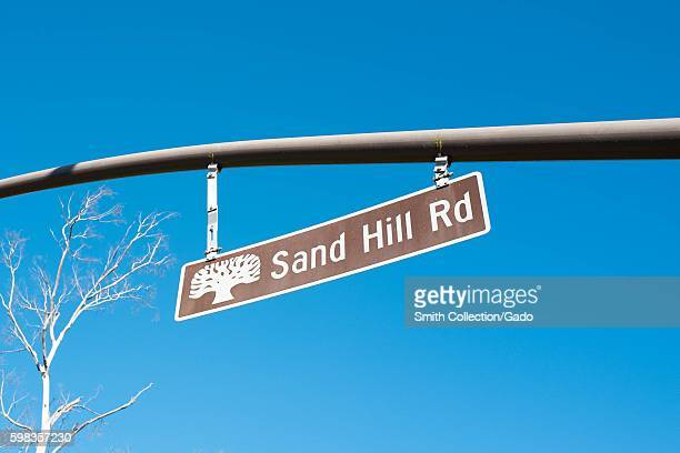 Iconic Sand Hill Road sign against a blue sky on Sand Hill Road in the Silicon Valley town of Menlo Park California August 25 2016 In Silicon Valley...