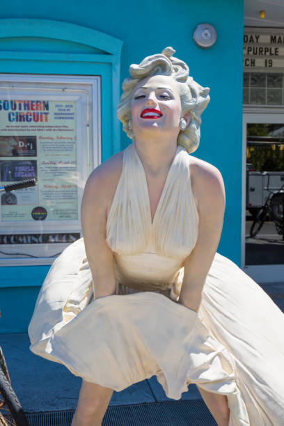 Iconic sculpture of Marilyn Monroe by Seward Johnson in front of the Tropic Cinema, Old Town, Key West, Florida, USA