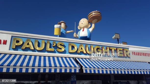Iconic store sign of famous Paul's Daughter restaurant on the Coney Island Boardwalk, Brooklyn, New York City