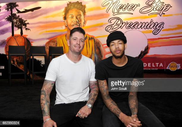 Iconic street artist Jonas Never and Los Angeles Lakers' Brandon Ingram atttends Delta's first 'Beyond The Court Event' to create billboard display...