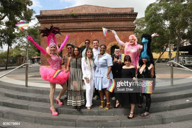 Iconic Sydney Drag Queens alongside Christian Navarro Alisha Boe Samira Wiley Danni Minogue Danielle Brooks Lea Delaria Yael Stone at Taylor Square...