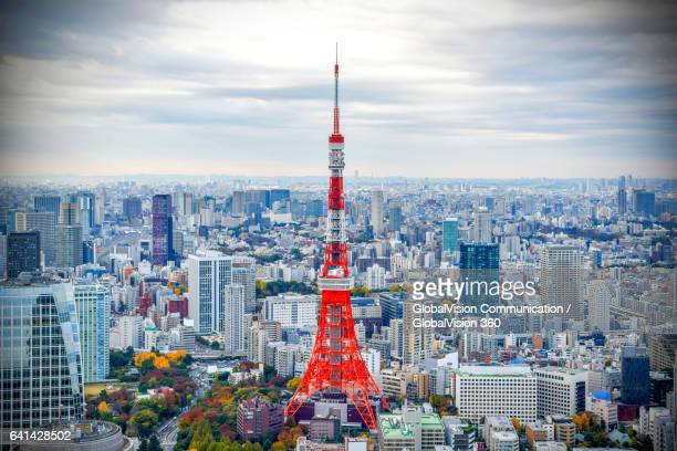 iconic tokyo tower in autumn - roppongi hills stock pictures, royalty-free photos & images