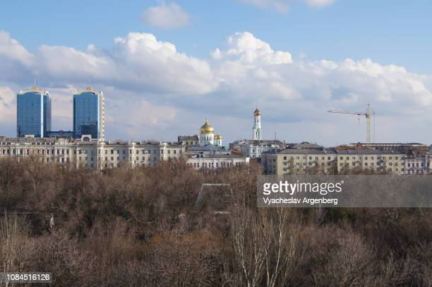 iconic view of rostov-on-don, panorama of rostov-on-don city centre as seen from gorky park - argenberg ストックフォトと画像