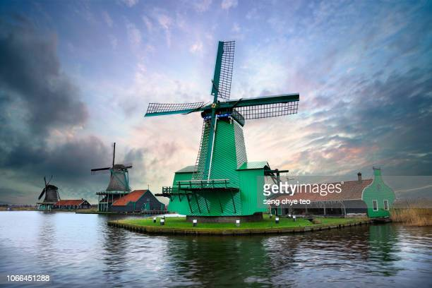 iconic windmills at zaanse schans, amsterdam - traditional windmill stock photos and pictures